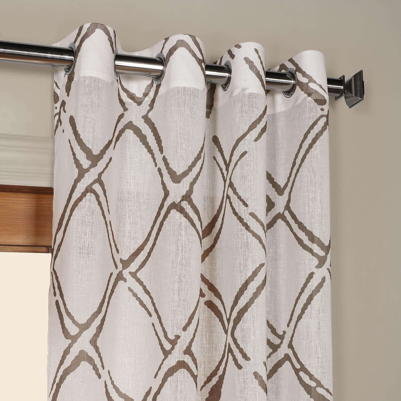Normandy Grey Grommet Printed Sheer Curtain