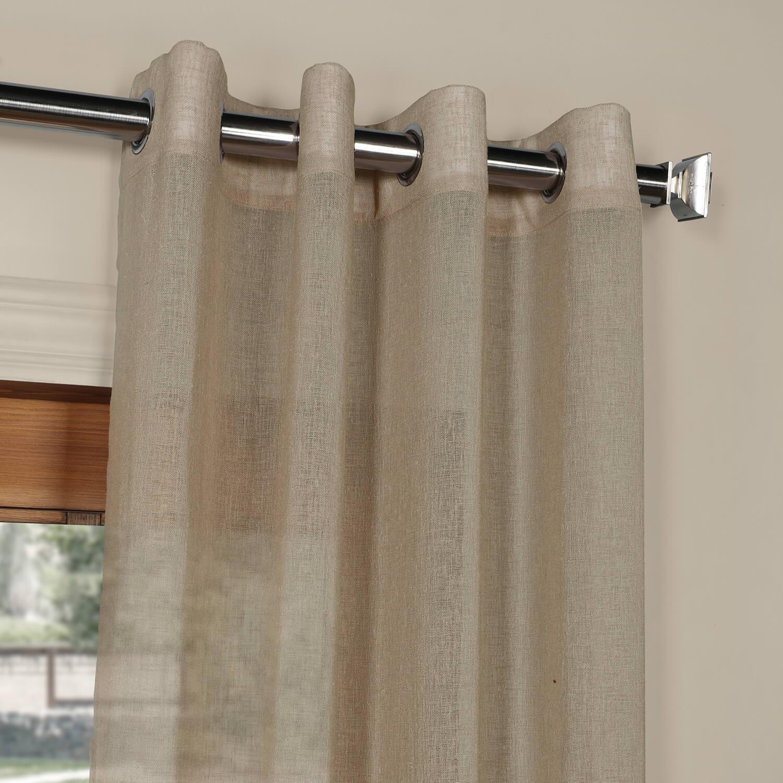 Nude Mauve Grommet Solid Faux Linen Sheer Curtain