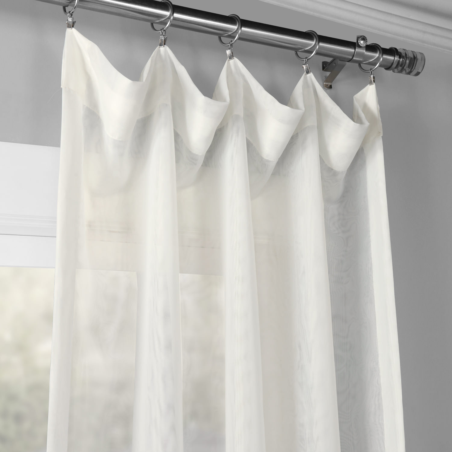 Signature Double Layered Off White Sheer Curtains