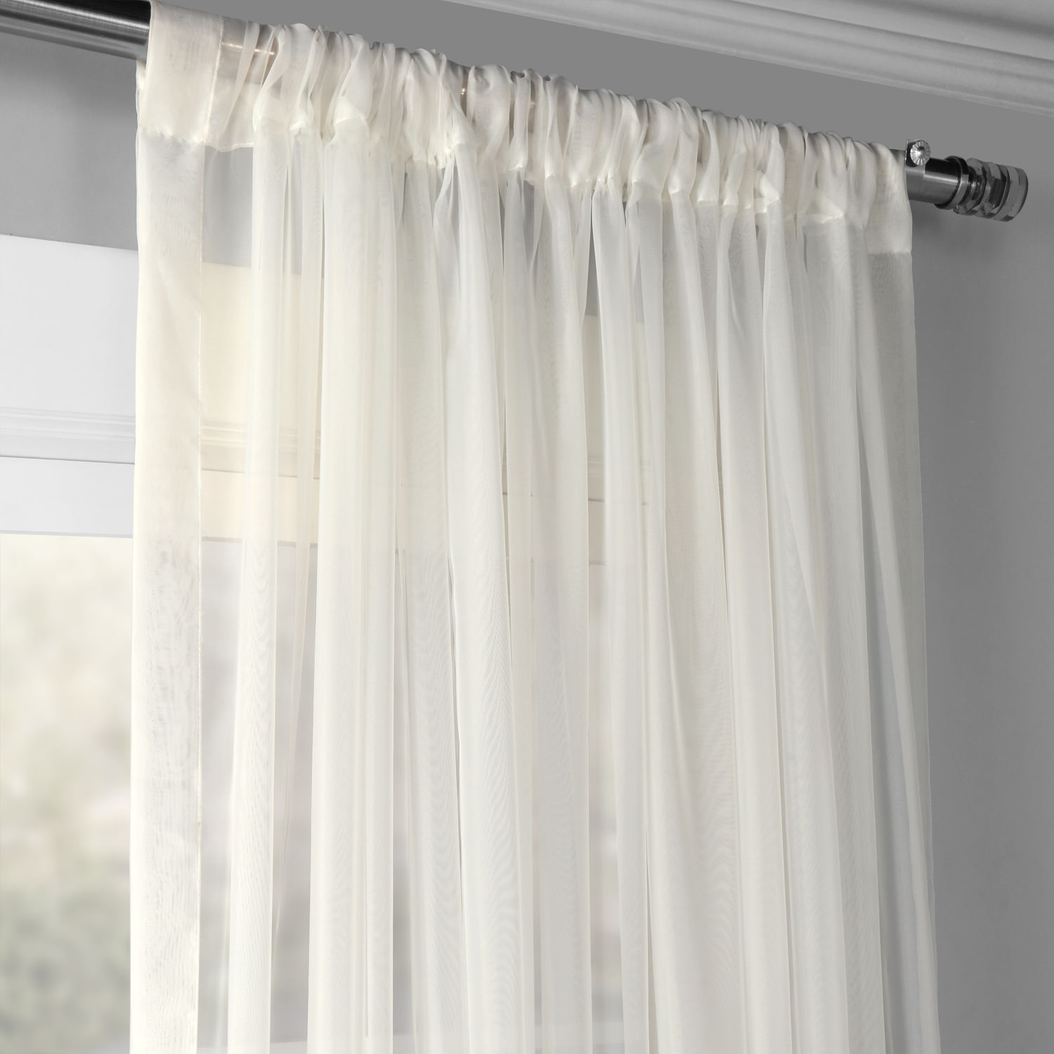 Solid Off White Extra Wide Voile Poly Sheer Curtain