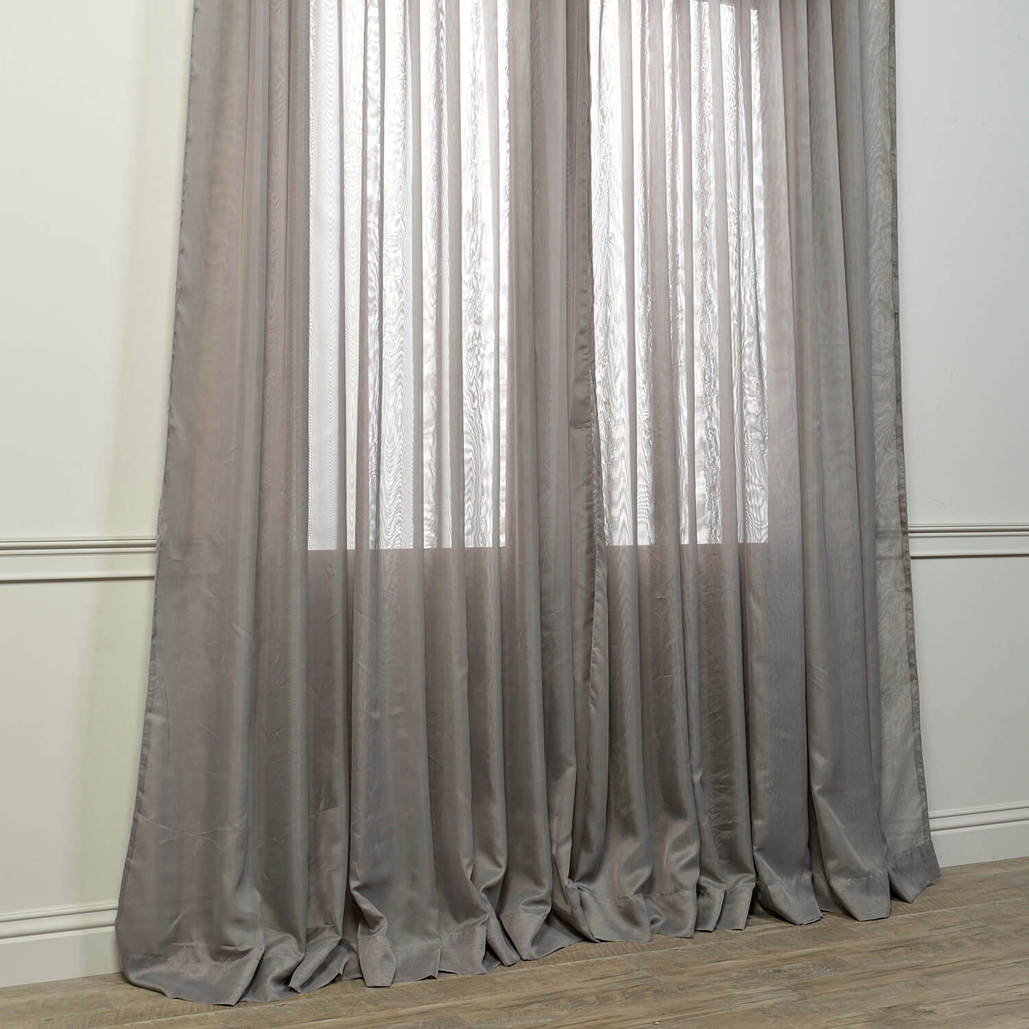 Signature Extra Wide Grey Sheer Curtain