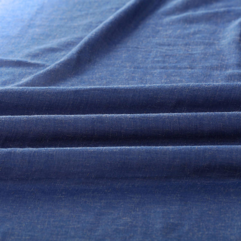 Blue Lapis Faux Linen Sheer Fabric