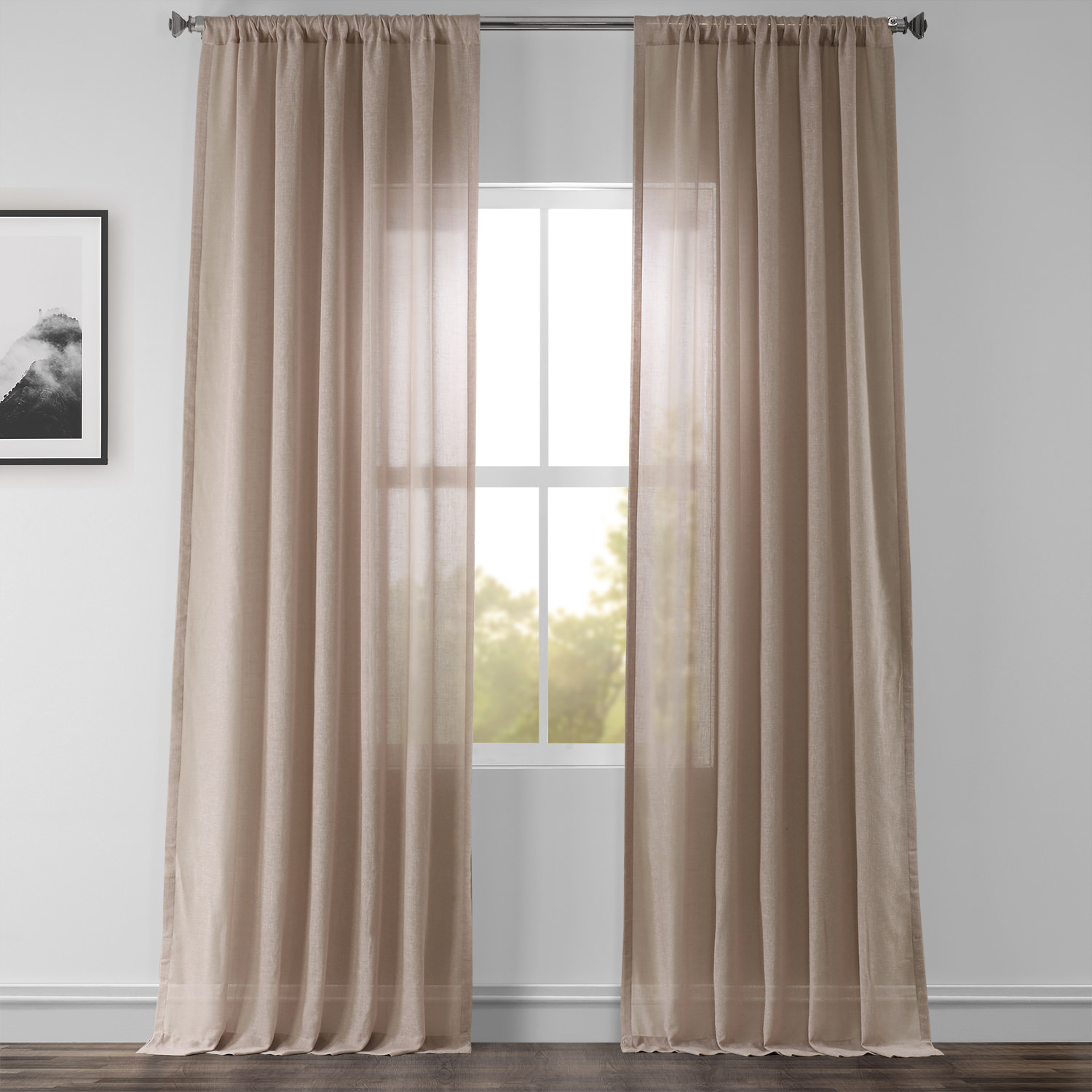 Vintage Peony Faux Linen Sheer Curtain