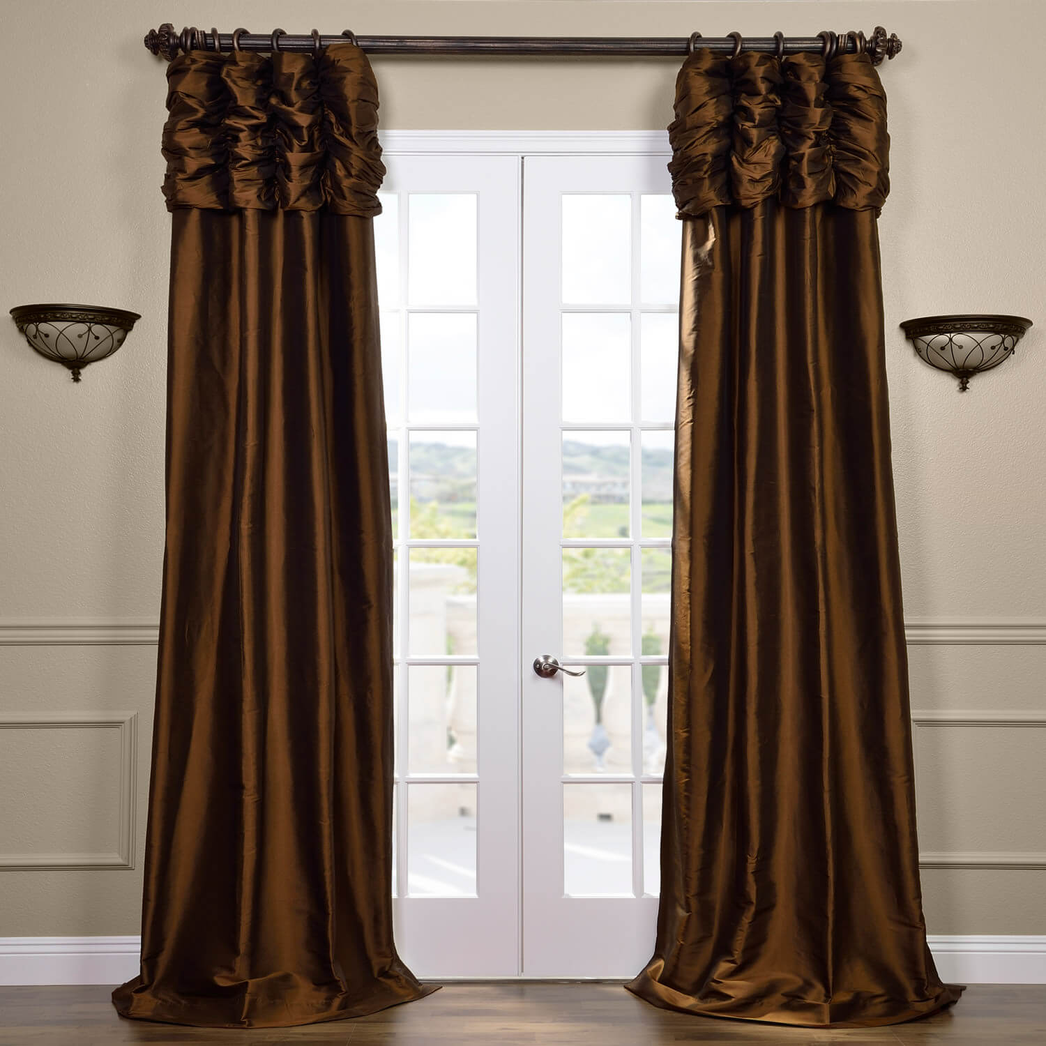 Ruched Chocolate Thai Silk Curtain