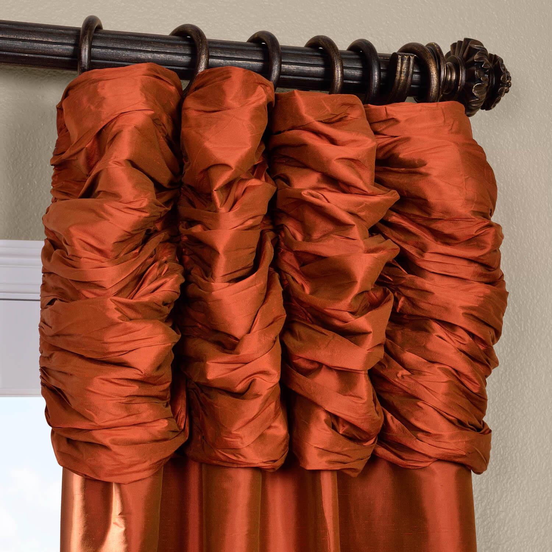 Ruched Cayenne Thai Silk Curtain