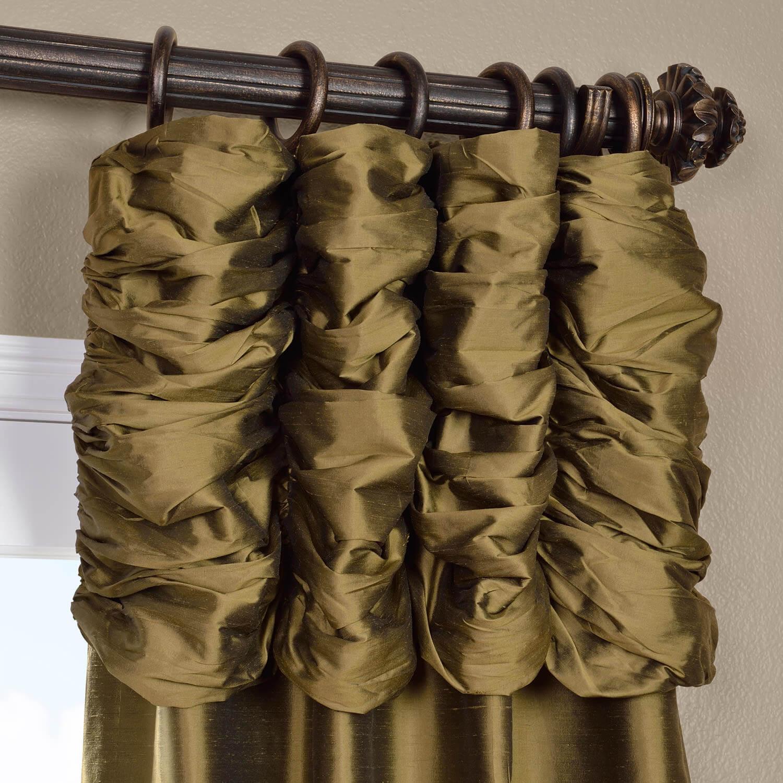 Ruched Sage Green Thai Silk Curtain