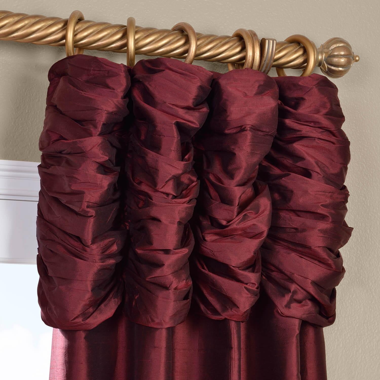 Ruched Merlot Thai Silk Curtain