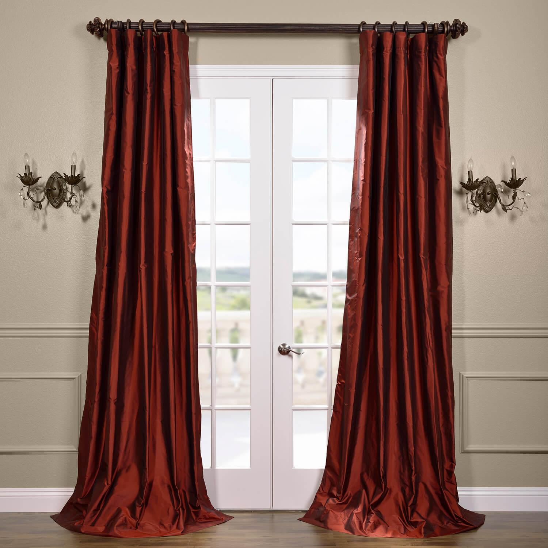 Cognac Silk Taffeta Curtain