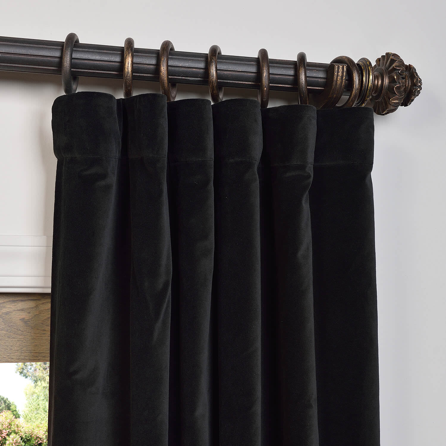 Black Vintage Cotton Velvet Curtain