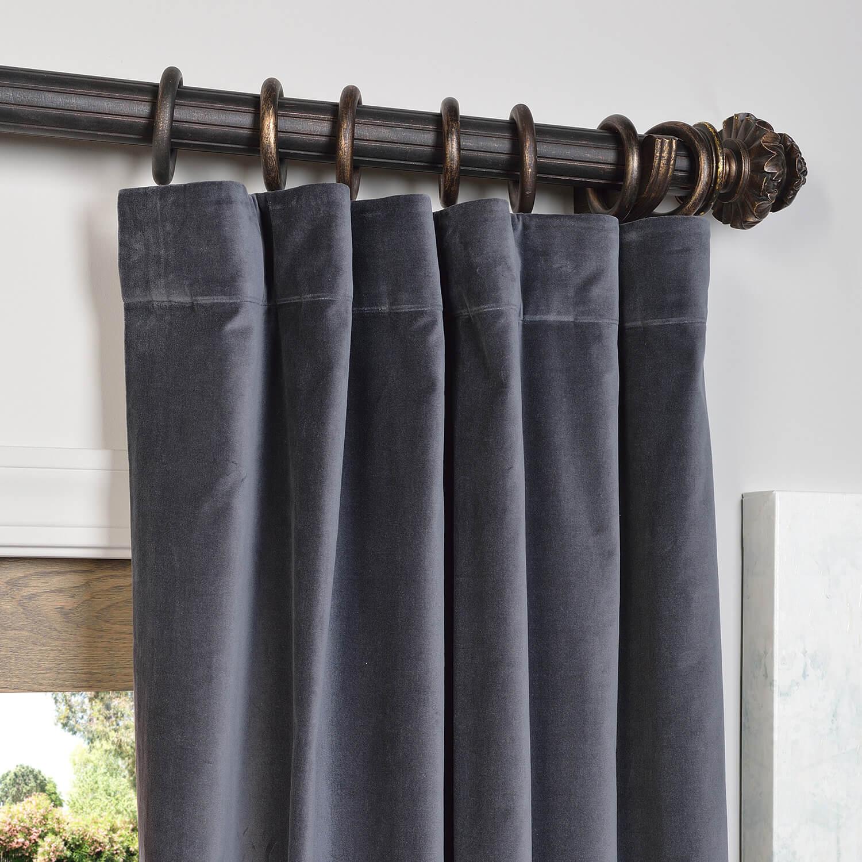 Blue Grey Vintage Cotton Velvet Curtain