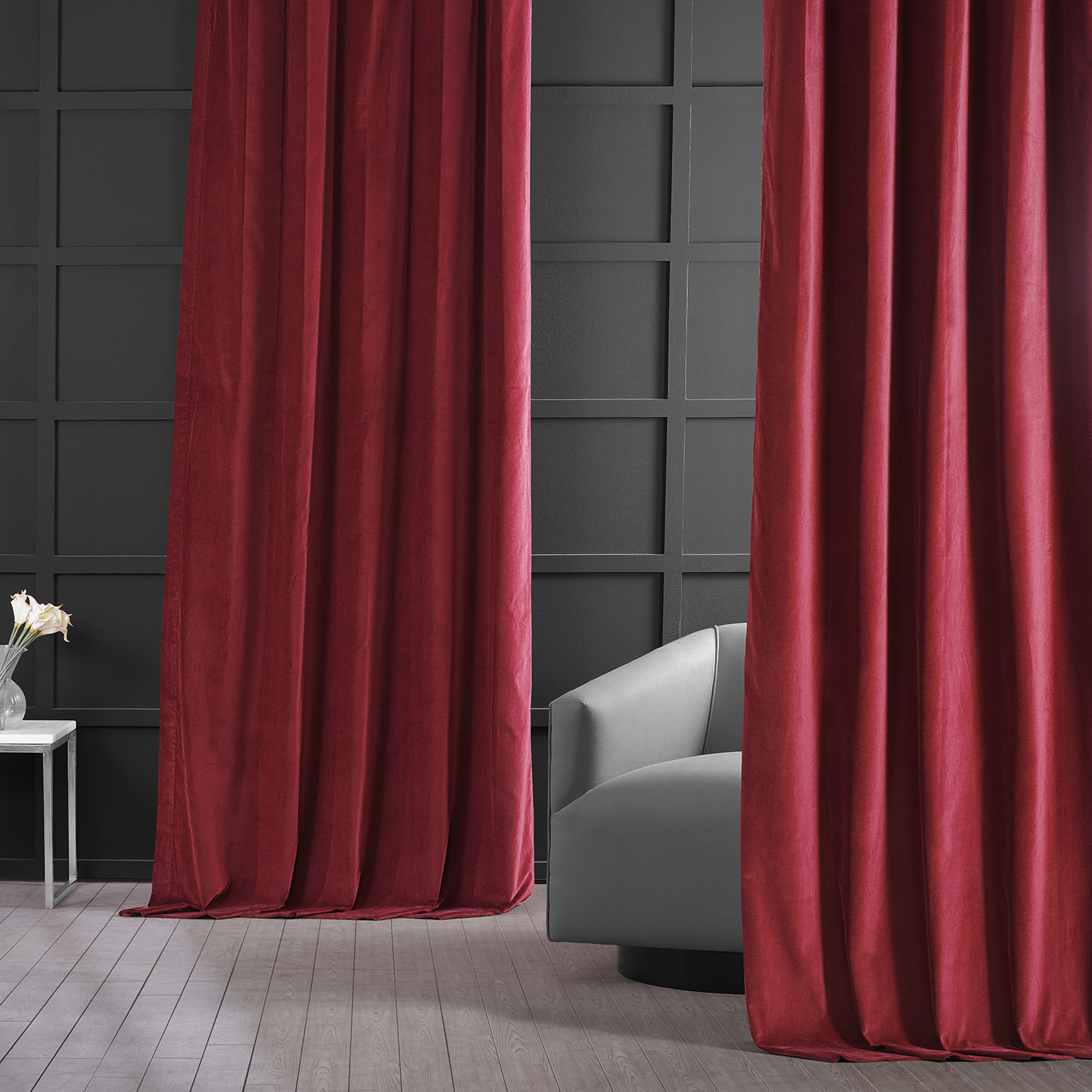 Red Vintage Cotton Velvet Curtains And Drapes