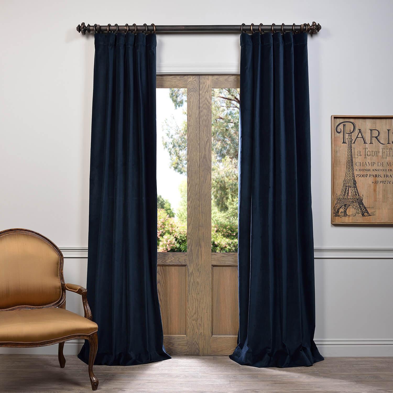 Navy Vintage Cotton Velvet Curtain