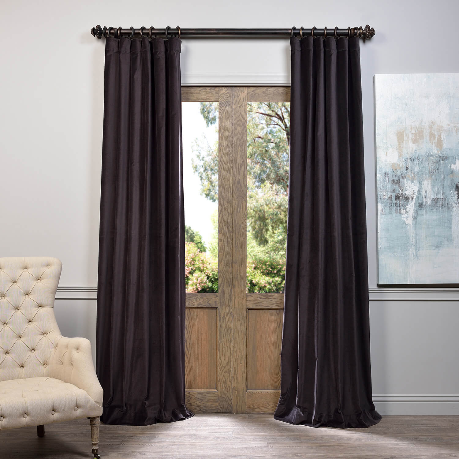 Charcoal Vintage Cotton Velvet Curtain