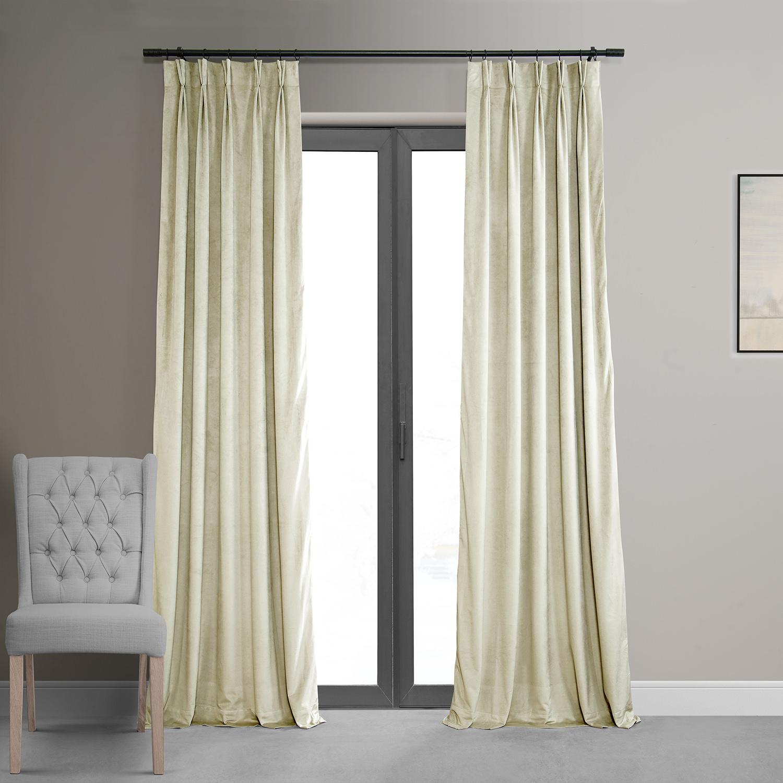Signature Ivory Pleated Blackout Velvet Curtain