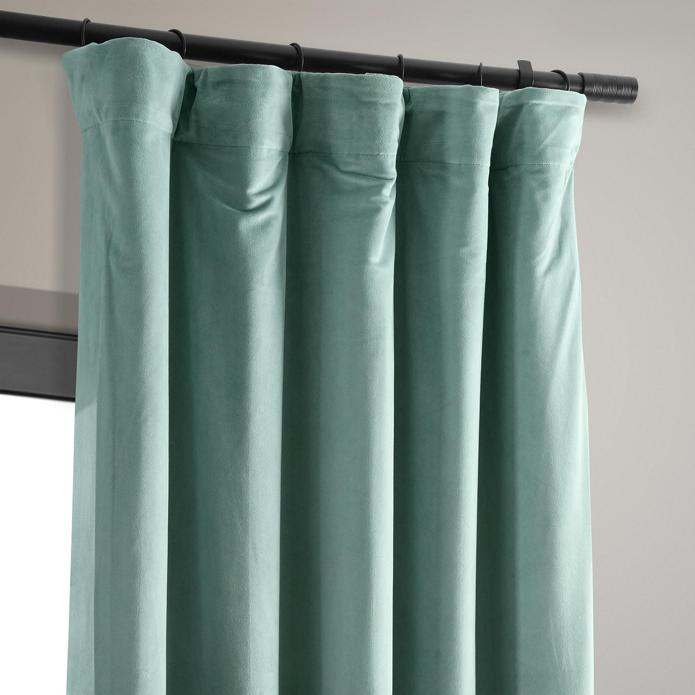 Signature Aqua Mist Blackout Velvet Curtain