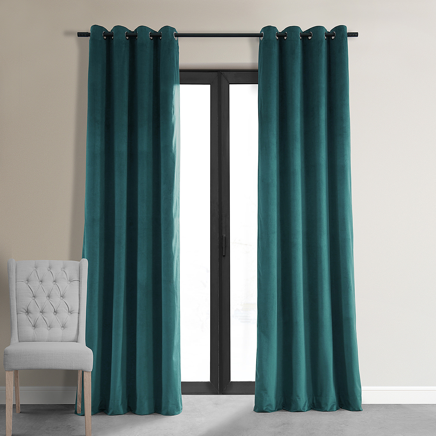 Design Velvet Curtains signature everglade teal grommet blackout velvet curtains curtain