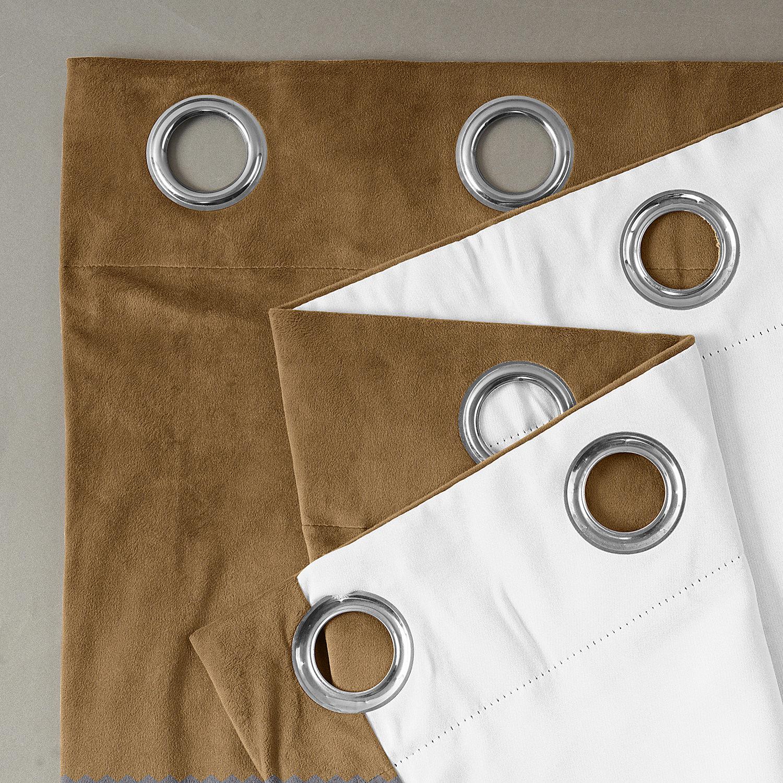 Signature Amber Gold Grommet Blackout Velvet Curtain