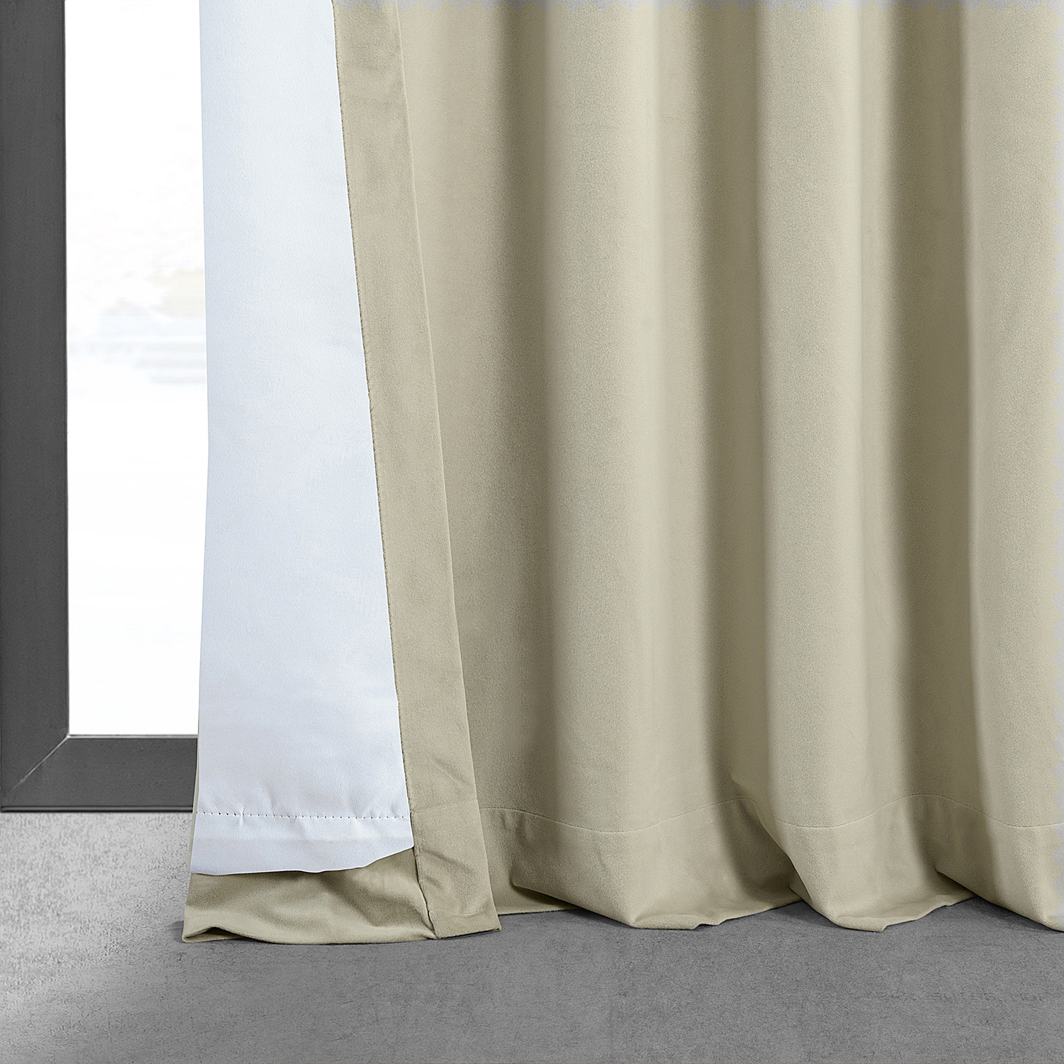 Signature Cool Beige Blackout Velvet Curtain