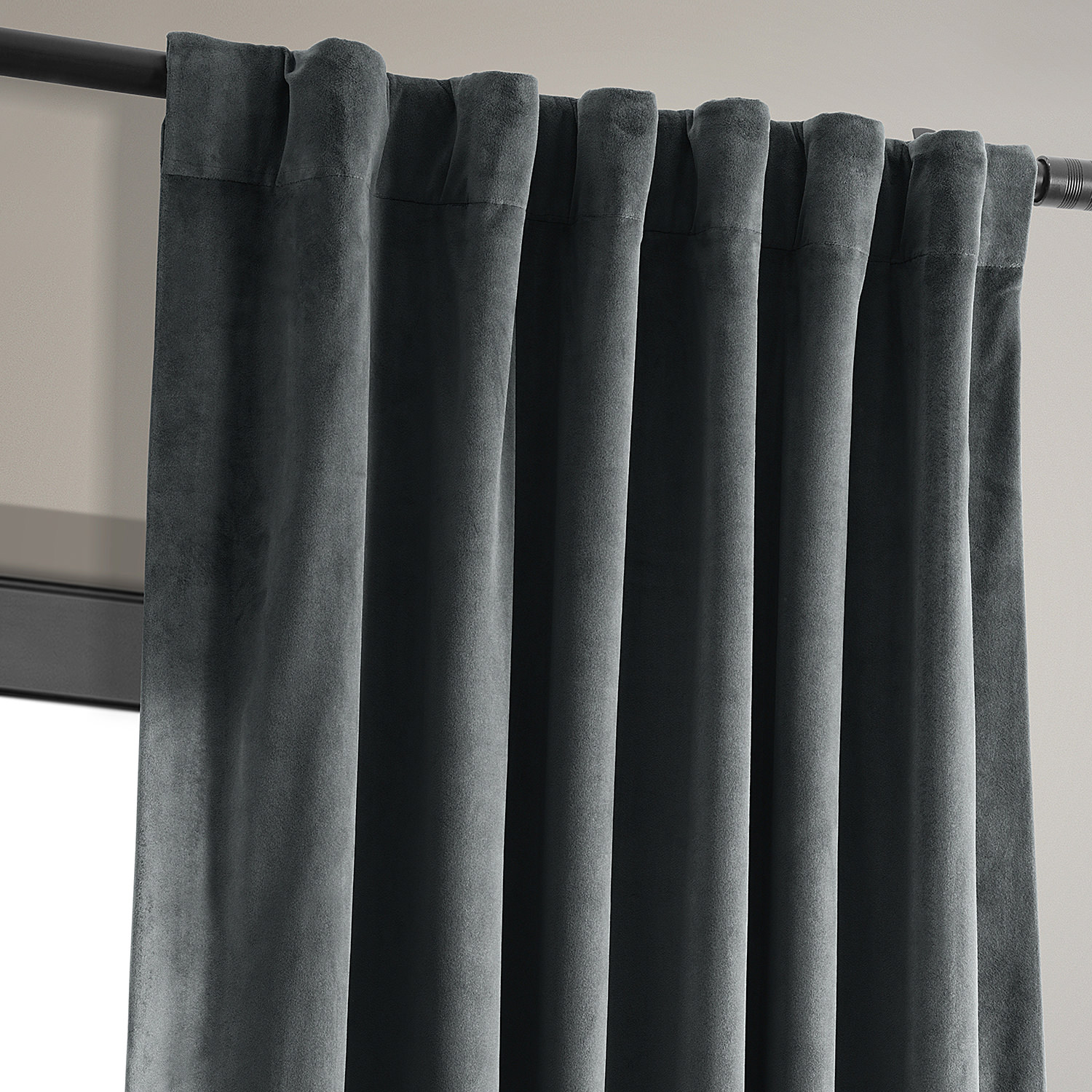 Signature Natural Grey Blackout Velvet Curtains