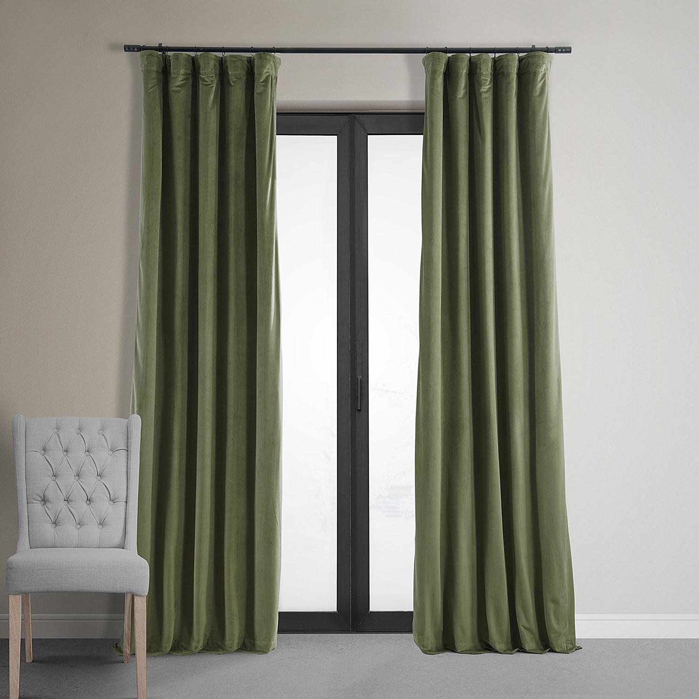 signature hunter green blackout velvet curtain  drapes - signature hunter green blackout velvet curtain