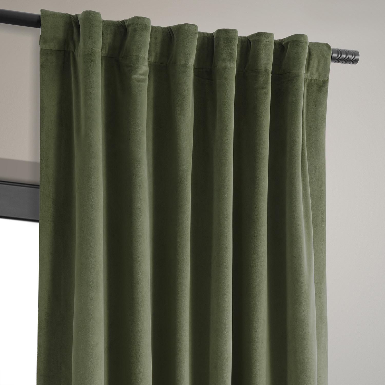 Hunter Green Kitchen Curtains: Signature Hunter Green Blackout Velvet Curtain & Drapes
