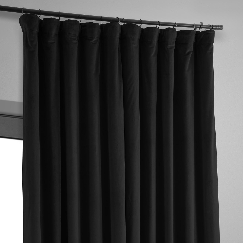 Signature Black Extra Wide Velvet Blackout Pole Pocket Curtain
