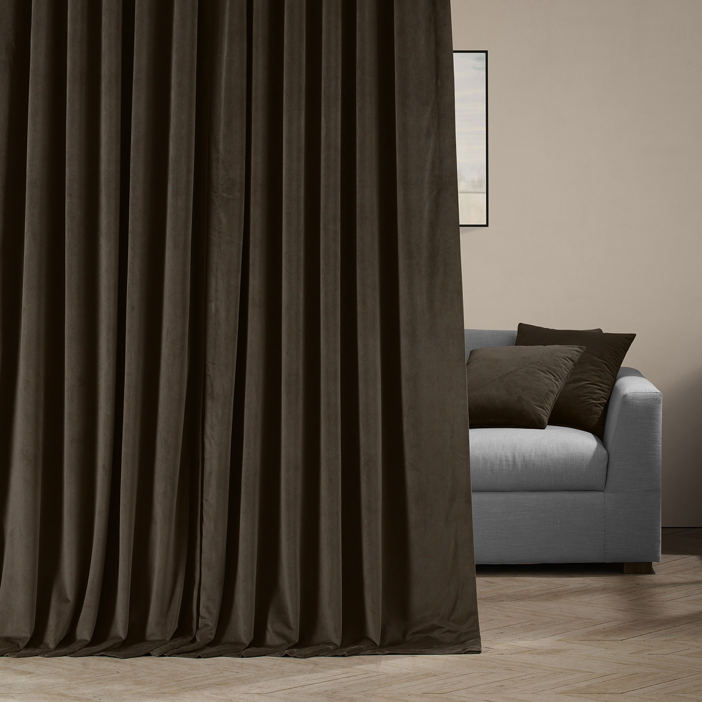 Signature Java Extra Wide Velvet Blackout Pole Pocket Curtain