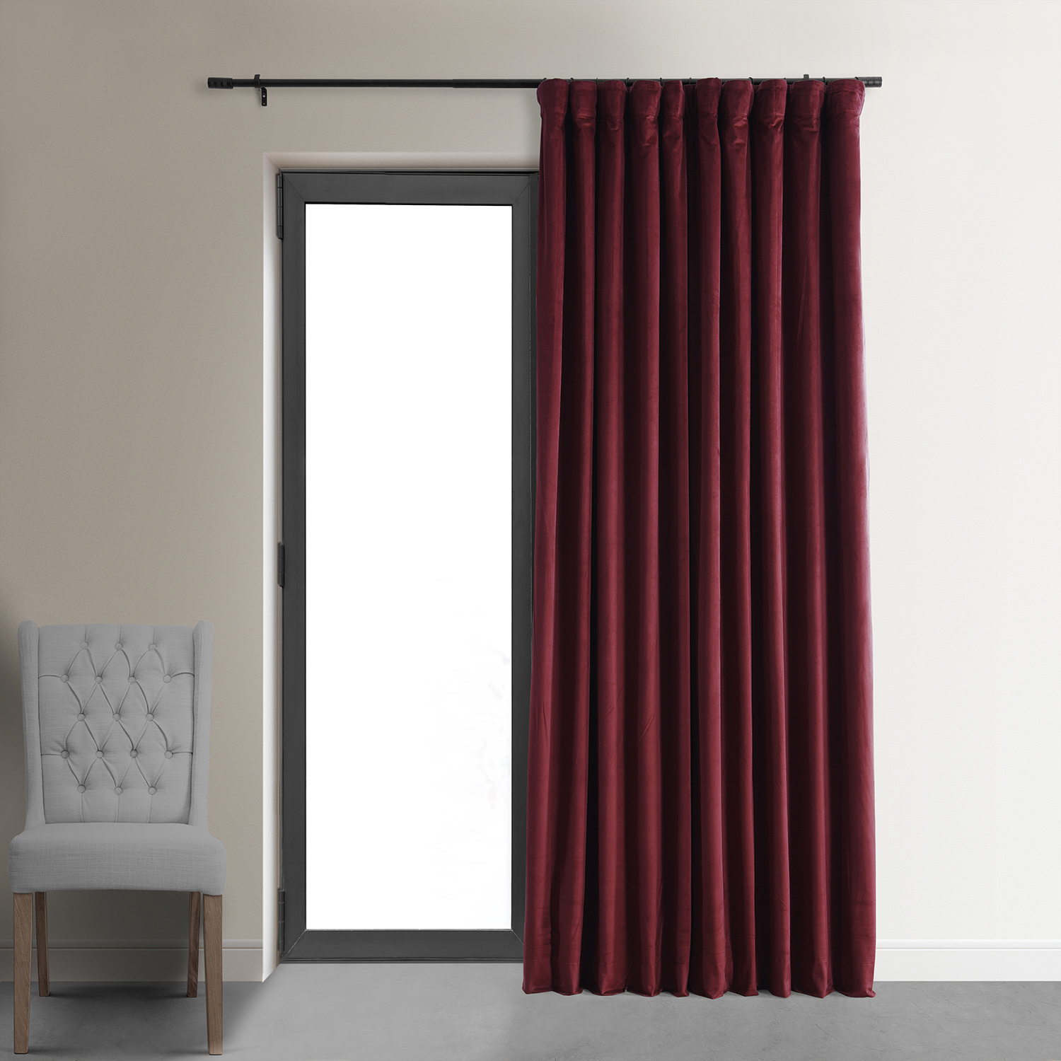 Signature Burgundy Double Wide Velvet Blackout Pole Pocket Curtain