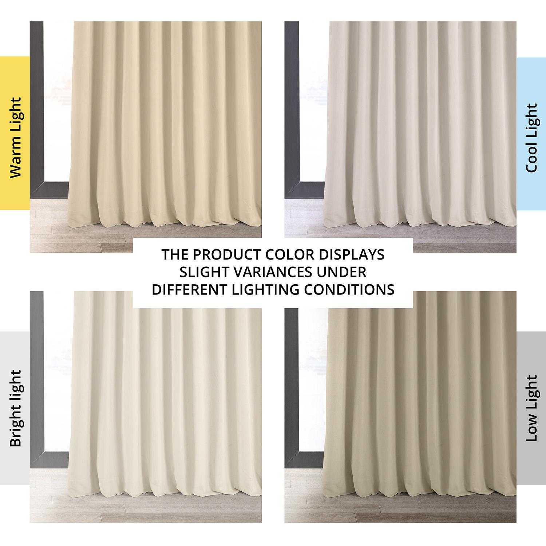 Signature Ivory Extra Wide Velvet Blackout Pole Pocket Curtain