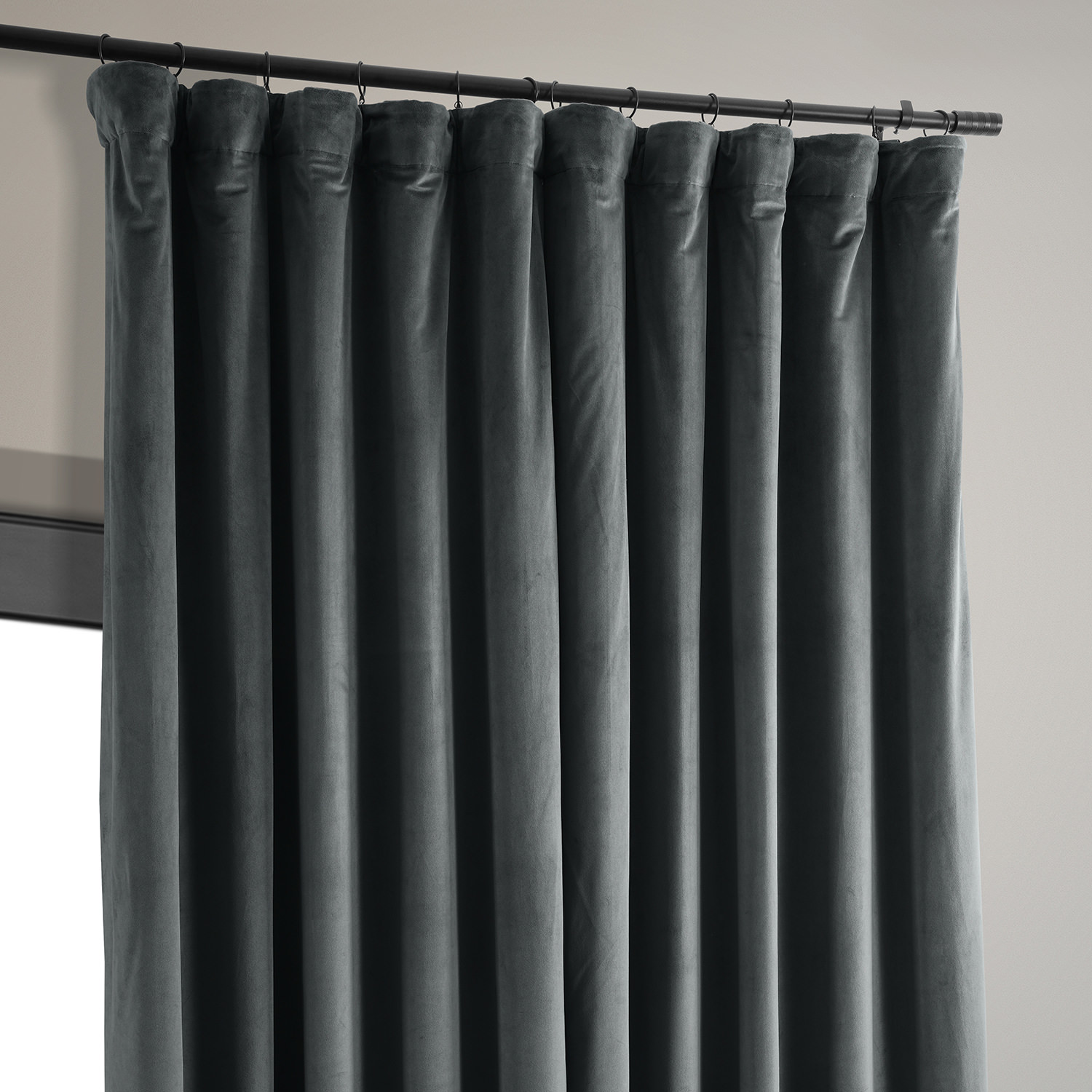 Signature Natural Grey Extra Wide Blackout Velvet Curtain