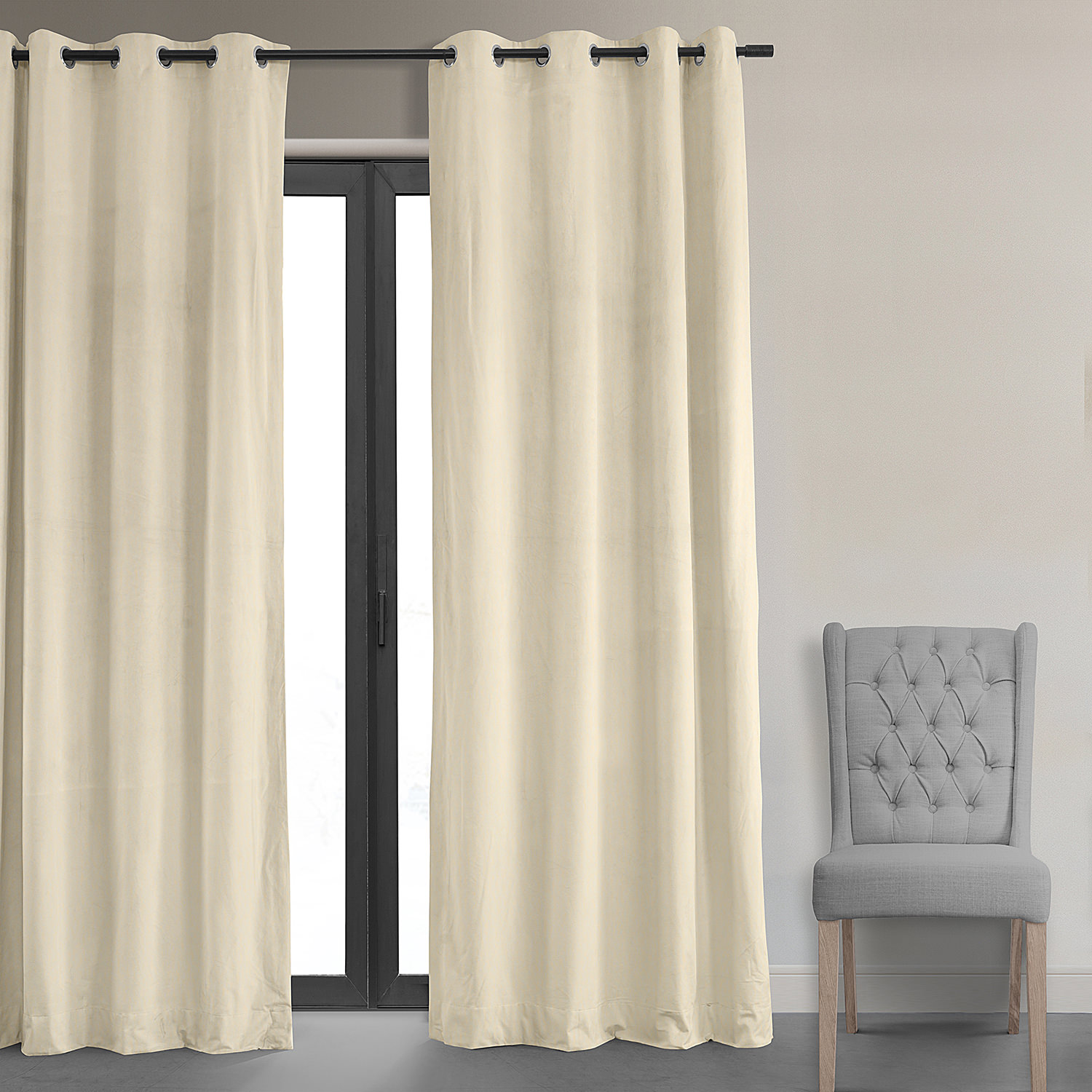 Signature Ivory Grommet Blackout Velvet Curtains