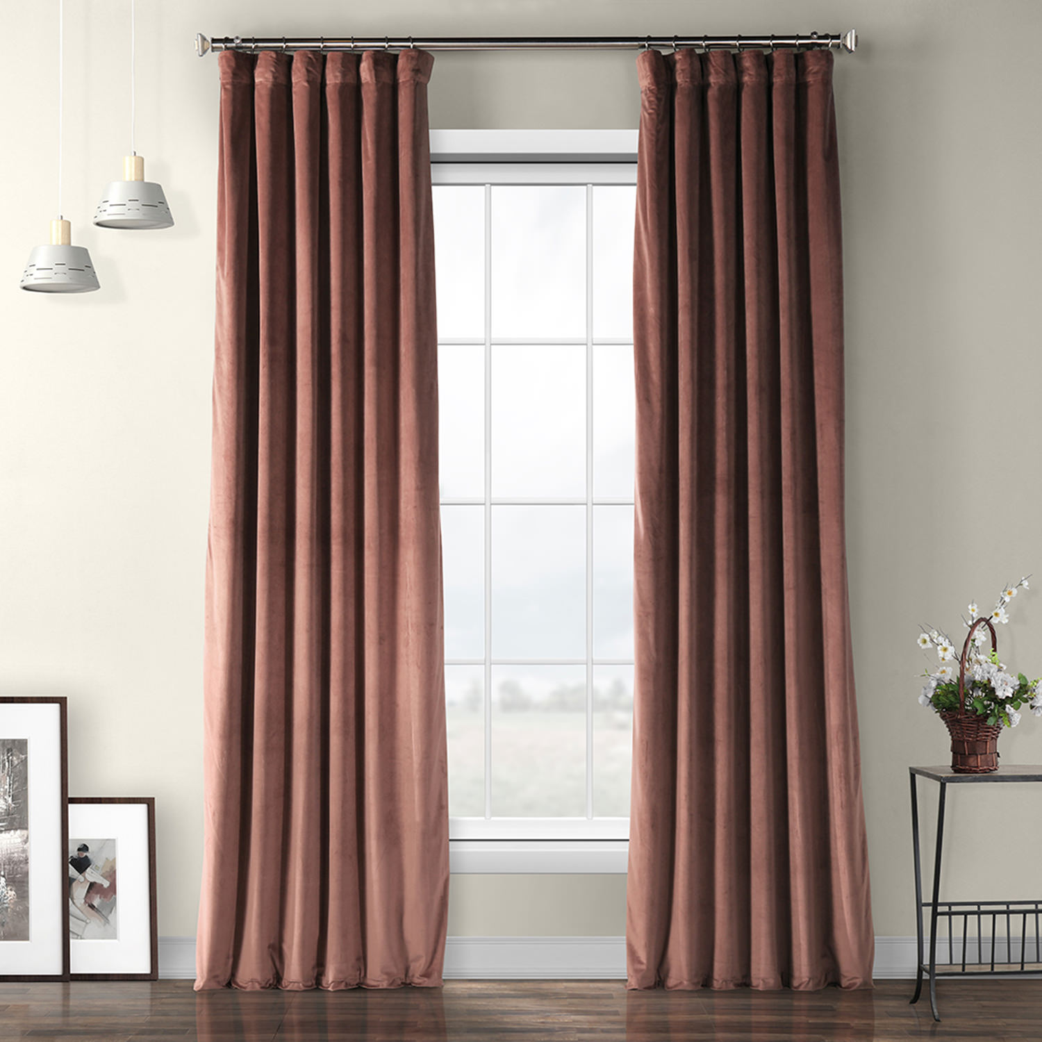 Wild Rose Plush Velvet Curtain