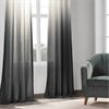 Ombre Black Faux Linen Sheer Curtain