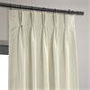 Off White Blackout Vintage Textured Faux Dupioni Pleated Curtain