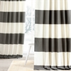 Slate Grey & Off White Horizontal Stripe Curtain