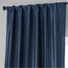 Navy Blue Faux Silk Taffeta Curtain