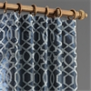Filigree Deep Blue & Silver Flocked Faux Silk Curtain