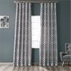 Filigree Silver & Pewter Flocked Faux Silk Curtain