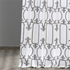 Royal Gate Buff & Silver Flocked Faux Silk Curtain