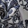 Firenze Silver & Blue Flocked Faux Silk Swatch