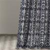 Firenze Silver & Blue Flocked Faux Silk Curtain