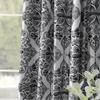 Tiera Grey Printed Faux Silk Taffeta Blackout Curtain