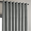 Signature Silver Grey Extra Wide Grommet Blackout Velvet Curtain