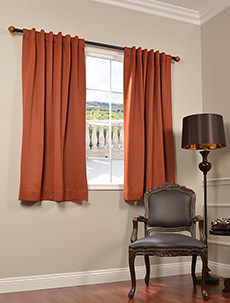 63Inch Solid Blackout Pole Pocket Back Tab Curtains