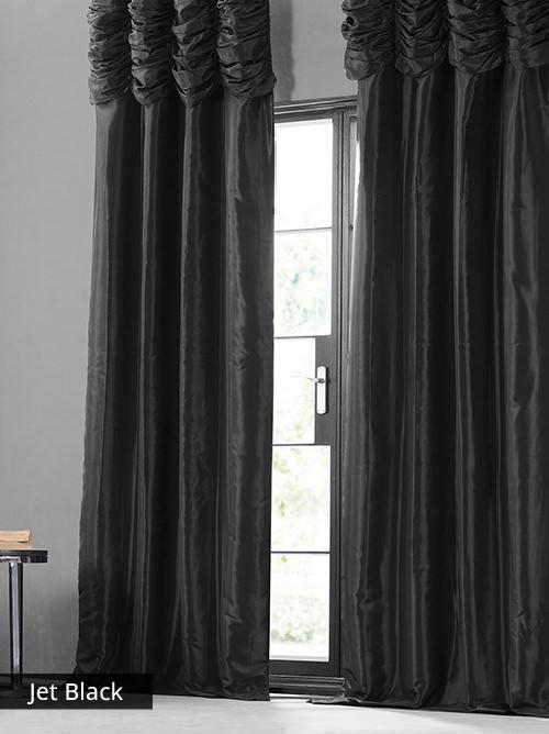 Ruched Faux Silk Taffeta Curtains