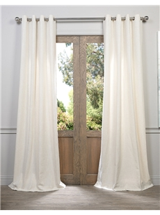 Textured Faux Linen Grommet Curtains
