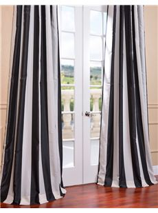 Ultra Lux Blackout Faux Silk Taffeta Stripe Curtains