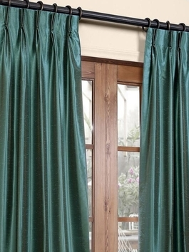 Pleated Vintage Textured Faux Dupioni Silk Blackout Curtains