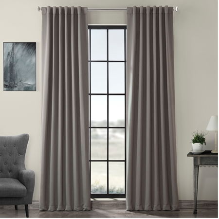 Neutral Grey Pole Pocket Blackout Curtain