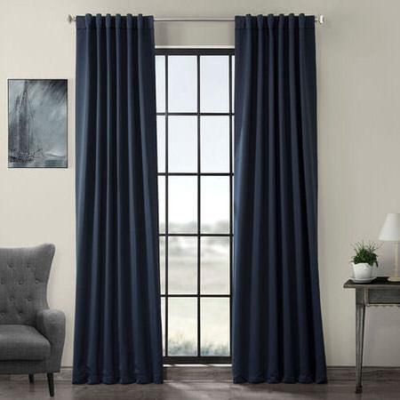 Navy Blue Pole Pocket Blackout Curtain
